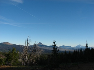 Belknap Crater, Little Belknap Crater, Mt. Washington, Three Fingered Jack, Mt. Jefferson, and Mt. Hood from L to R
