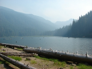 Smoke over Pamelia Lake